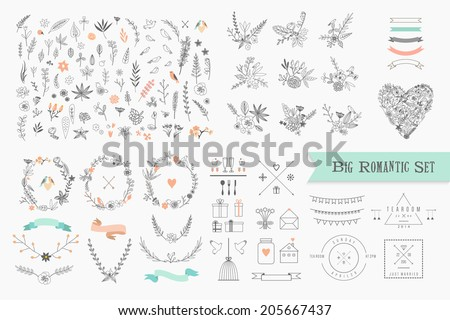 Hand Drawn vintage floral elements. Set of flowers, icons and decorative elements.