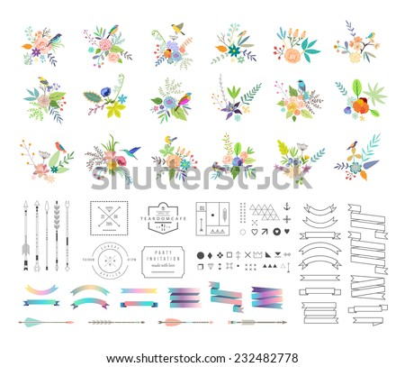Hand Drawn vintage floral elements. Set of flowers, icons and decorative elements. - stock vector
