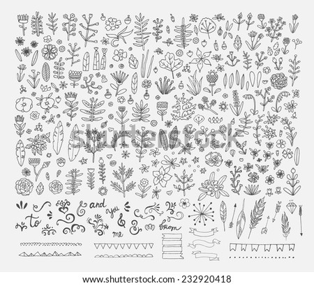 Hand Drawn vintage floral elements. Swirls, laurels, frames, arrows, flowers, leaves, feathers, dividers, branches, banners and curls.  - stock vector