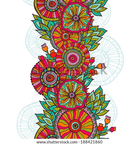 Hand  drawn vintage floral vertical seamless background. All objects are conveniently grouped on different layers and are easily editable. - stock vector