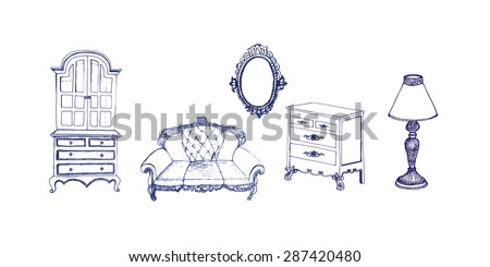 Hand-drawn vintage  furniture collection. Doodle slyle. Vector illustration. - stock vector