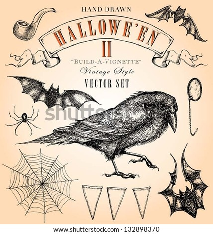Hand Drawn Vintage Halloween 2 Vector Set - stock vector