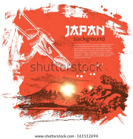 Hand drawn vintage Japanese sushi background - stock vector