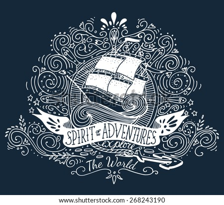 Hand drawn vintage label with a ship and hand lettering on blackboard - stock vector