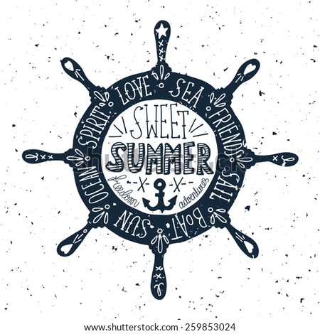 Hand drawn vintage label with a steering wheel on a grunge background - stock vector