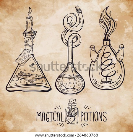 Hand drawn vintage laboratory icons. Ink on aged card paper. Vector illustration.Back to School. Science lab objects doodle style sketch, Magical elements. Alchemy and vintage medieval science.  - stock vector