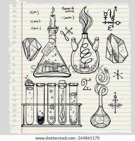 Hand drawn vintage laboratory icons sketch. Vector illustration. Medieval lab. Science lab objects doodle style sketch,Back to school. Alchemy and vintage medieval science. Note book page paper.  - stock vector