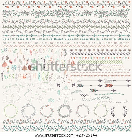 Hand drawn vintage leaves, arrows, feathers, wreaths, dividers, ornaments and floral decorative elements, vector illustration - stock vector