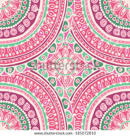 Hand  drawn vintage mandala endless background. Vintage abrasions located on a separate layer - stock vector