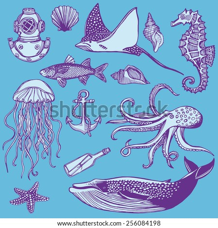 Hand drawn vintage nautical set. Fish, sea star, whale, sea horse, jellyfish, octopus.