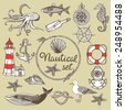 Hand drawn vintage nautical set. Lighthouse, anchor, lifebuoy, message in a bottle, fish, shell, sea star, whale, knot, wind rose, seagull, steering wheel, sea horse, octopus, diving helmet - stock vector