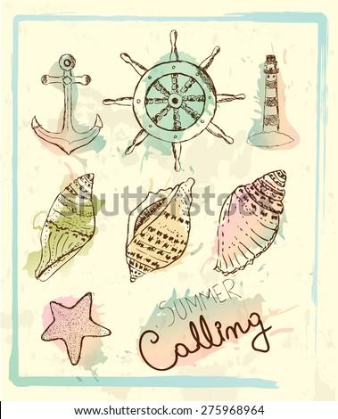 Hand drawn vintage nautical set. Lighthouse, anchor, shell, sea star, steering wheel  - stock vector