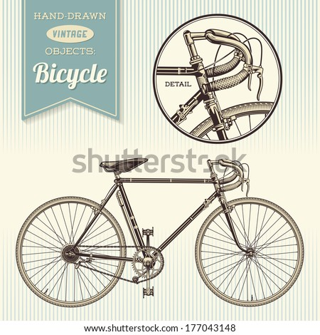 hand-drawn vintage objects: racing bike - stock vector