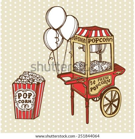 Hand drawn vintage popcorn machine, balloons, pop corn box. Polka dot background - stock vector