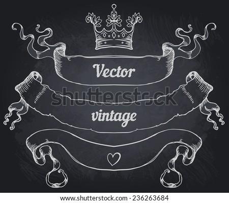 Hand drawn vintage ribbons on a blackboard. Elements for menu design. Vector illustration. - stock vector