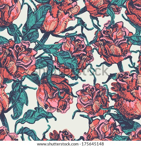 Hand drawn vintage roses seamless pattern. Old fashioned endless background in style of antique prints