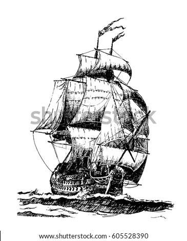 Ghost pirate ship silhouette