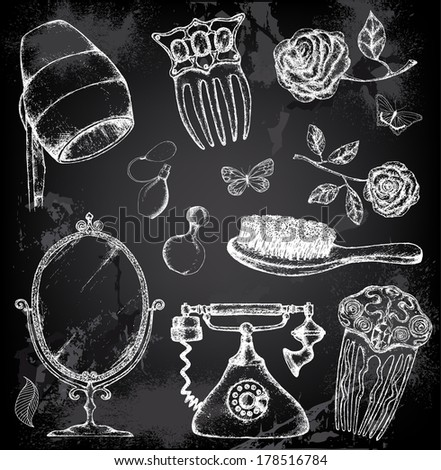 Hand drawn vintage salon with chalkboard background - stock vector