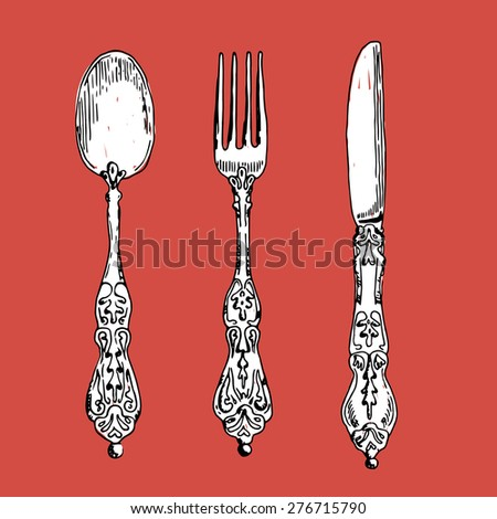 hand drawn vintage spoon, fork and knife vector illustration - stock vector