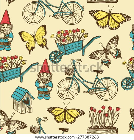 Hand drawn vintage summer garden seamless pattern. Bird house, garden gnome, tulips, garden wheelbarrow, butterflies, bicycle.