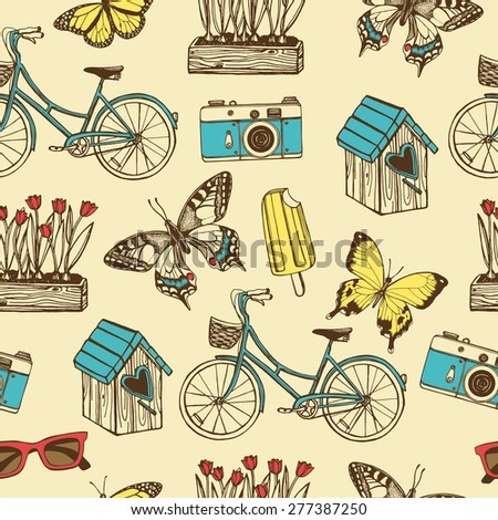 Hand drawn vintage summer seamless pattern. Bird house, garden gnome, tulips, garden wheelbarrow, butterflies, bicycle, ice cream, photo camera.