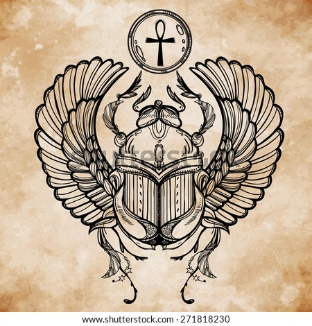 Hand-drawn vintage tattoo art. Vector illustration, symbol of pharaoh, Resurrection element of ancient Egypt in linear style. Scarab beetle of god sun Ra,  wings and ankh. Isolated. Aged book paper.