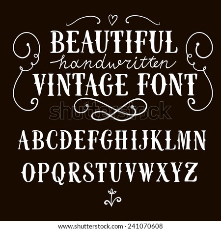 Hand drawn vintage vector ABC letters .Nice font for your design.  - stock vector