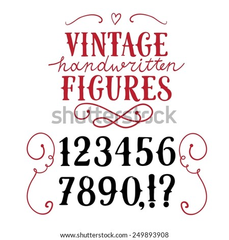 Hand drawn vintage vector figures.Nice font for your design.  - stock vector