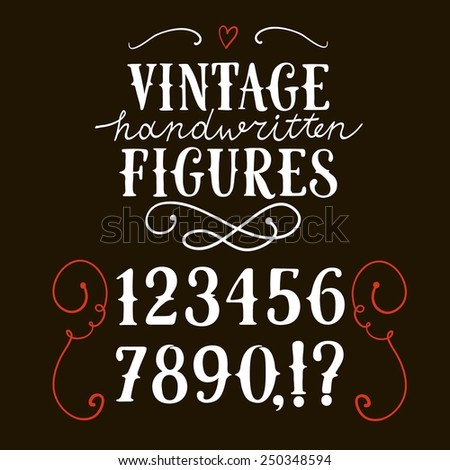 Hand drawn vintage vector figures on dark background.Nice font for your design.  - stock vector