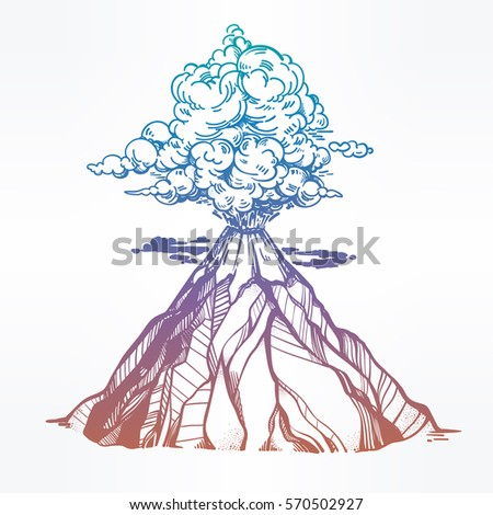 Volcano poster stock images royalty free images vectors hand drawn volcano nature disaster the eruption and smoke against the sky with clouds ccuart Images