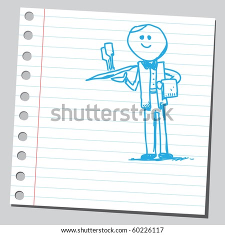 Hand drawn waiter