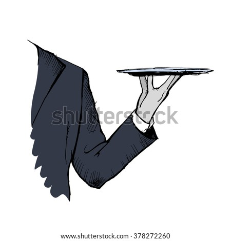 Hand drawn waiter holding a tray. Colorful frame. Sketched waiter white isolation. Vector stock illustration - stock vector