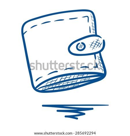 Hand drawn wallet illustration - stock vector
