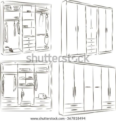 Hand drawn wardrobe sketch - stock vector