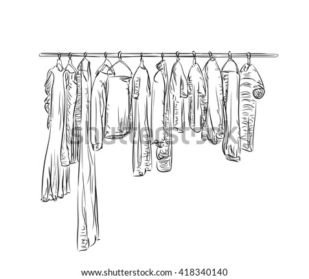 Hand drawn wardrobe sketch. Clothes on the hangers. - stock vector