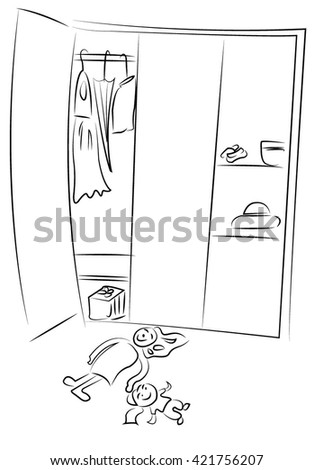Wardrobe clipart black and white  Open Wardrobe Stock Images, Royalty-Free Images & Vectors ...