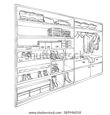 Hand drawn wardrobe sketch. Room interior with clothes and footwear. - stock vector