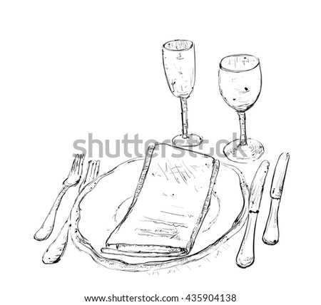 Hand Drawn wares. Romantic dinner with wine - stock vector