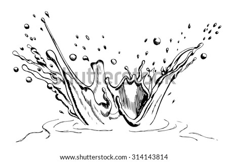 Hand drawn water/milk splash with ripple isolated on white background, sketched with a pen - stock vector