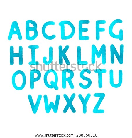 Hand drawn watercolor alphabet, blue sketch font, letters. Handwritten isolated on white background - stock vector