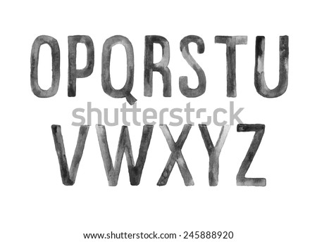 Hand drawn watercolor artistic font, letters O-Z - stock vector