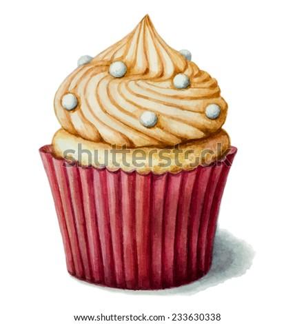 Hand-drawn watercolor cake with meringue. Vector illustration. - stock vector