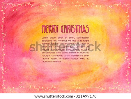 Hand drawn watercolor christmas card. Vector illustration. - stock vector
