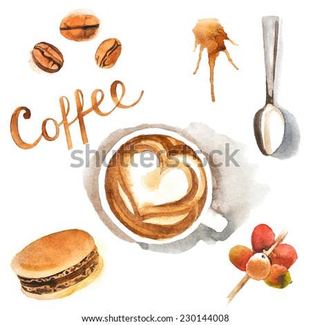 Hand drawn watercolor coffee design elements - stock vector