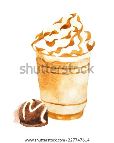 Hand drawn watercolor coffee in plastic cup - stock vector