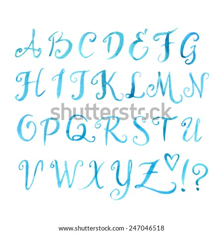 Number Names Worksheets letters of the alphabet in cursive : Watercolor Alphabet Letters Hand Painted Alphabet Stock ...