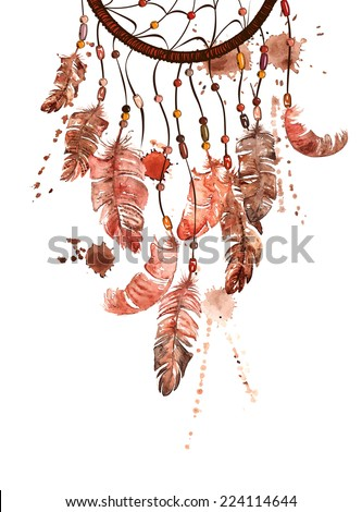 Hand drawn watercolor ethnic illustration with American Indians dreamcatcher - stock vector