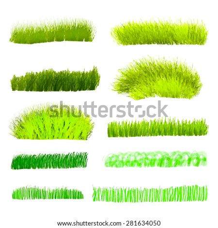 Hand drawn watercolor grass set isolated on white background. Sketch grass. Grass in the sun. Burnt grass. Withered herb. Light green watercolor grass pattern. Abstract grass. Spring fresh grass kit. - stock vector
