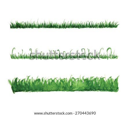Hand drawn watercolor grass set isolated on white background. Sketch green-fodder. Grass in the sun. Green grass pattern. Abstract herb. Summer juicy thick grass collection. Spring fresh grass kit - stock vector