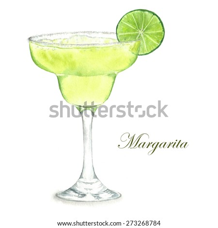 Hand drawn watercolor illustration of summer fresh cocktail Margarita. Isolated on the white background, in vector - stock vector
